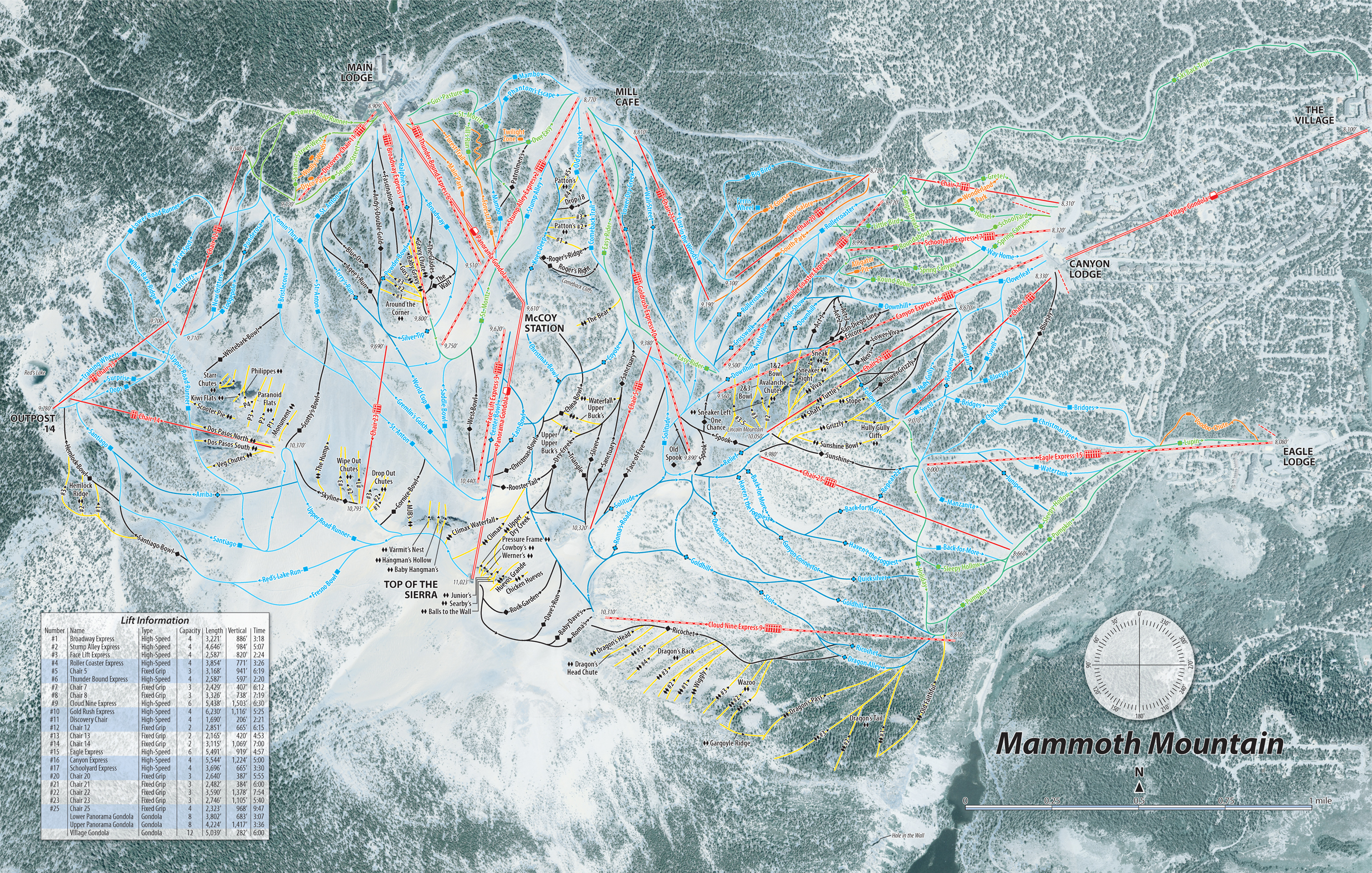 Handsome Rob's Overhead Map of Mammoth Mountain Ski Area on